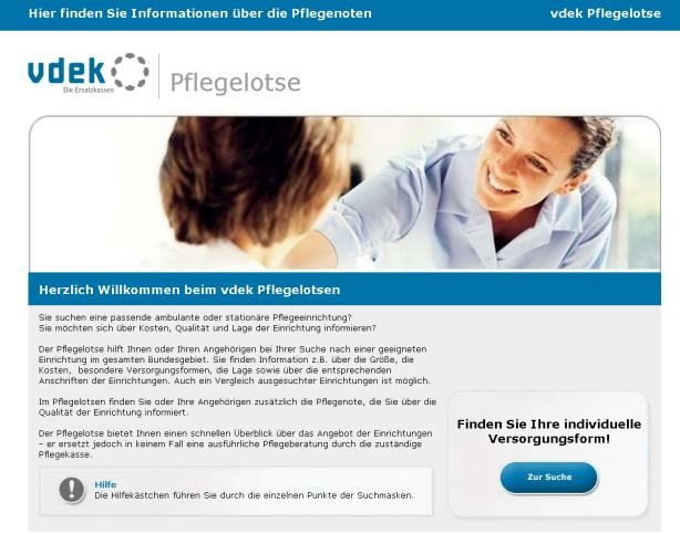 "Screenshot der vdek-Website ""Pflegelotse"""
