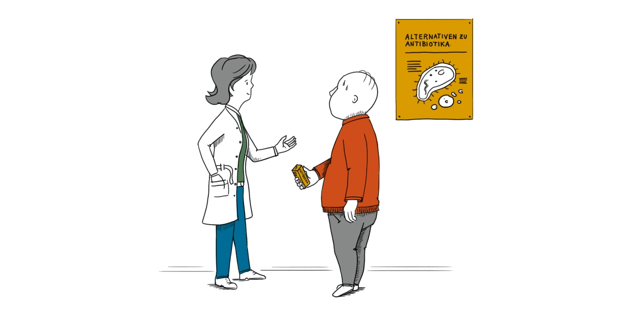 Illustration: Ärztin berät Patienten zu Antibiotika-Alternativen