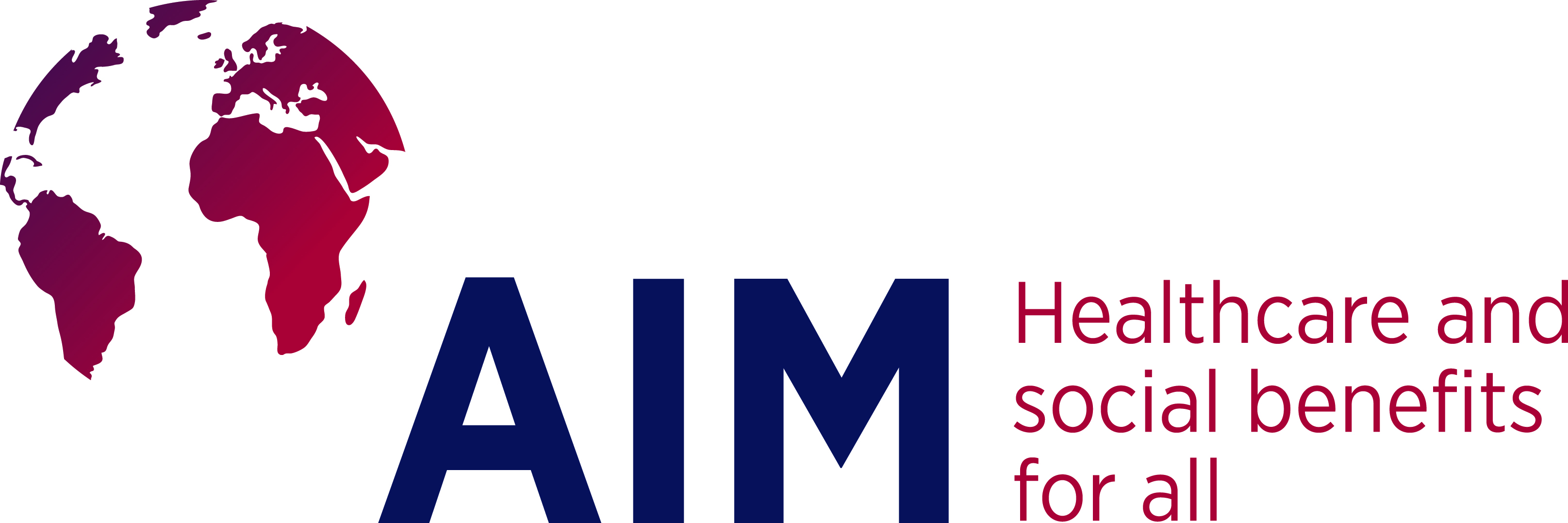 Logo AIM Association Internationale de la Mutualité, Healthcare and social benefits for all Internationaler - Verband der Krankenkassenverbände und Krankenversicherungen auf Gegenseitigkeit