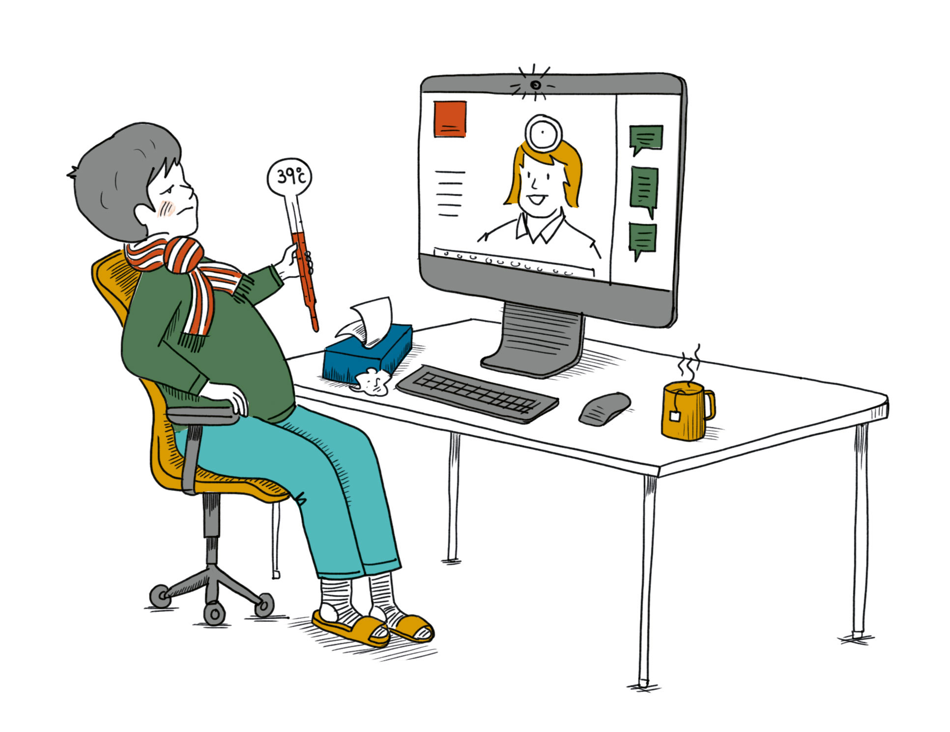 Illustration: Arzt-Video-Sprechstunde