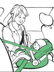 Illustration: Mutter mit Kind auf dem Kindersitz im Auto